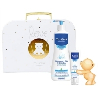 Mustela Bebe-Enfant żel do mycia 500ml + krem do twarzy 40ml + KUFEREK