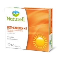 Naturell Beta-karoten + E, witamina A 1000mcg + witamina E 10mg x60 tabletek